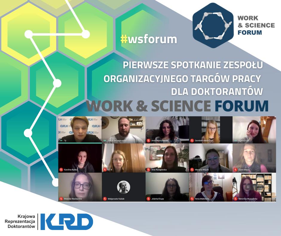 Zdjęcie przedstawiające logo Work&Science Forum oraz osoby obecne na pierwszym spotkaniu organizacyjnym tego wydarzenia.